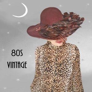 Vtg Big Lavish Jeweled Feather Hat